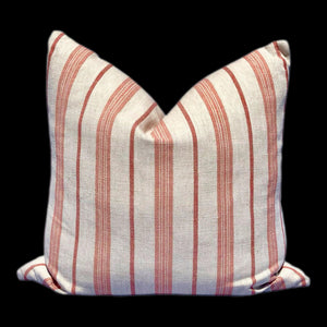 Coral and Beige Striped Linen Pillow Cover. Lumbar Linen Pillow Cover