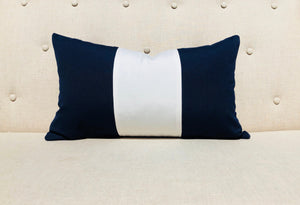 Sunbrella Outdoor Striped Lumbar Pillow Off White, Navy.