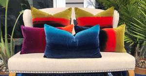Harlequin Designer Velvet  Pillow in Cocoa, Lagoon, Blueberry. Amazilia Lumbar Velvet Pillow Cover Tan, Aqua Blue, Indigo.
