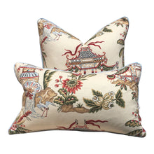Load image into Gallery viewer, Thibaut Tea House Chinoiserie Pillow, Blue Pipping. Lumbar Chinoiserie Pillow Cover