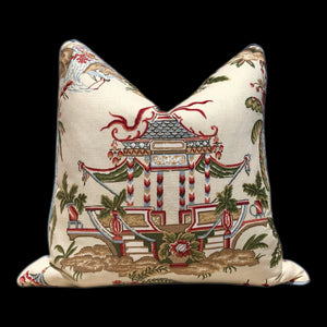 Thibaut Tea House Chinoiserie Pillow, Blue Pipping. Lumbar Chinoiserie Pillow Cover