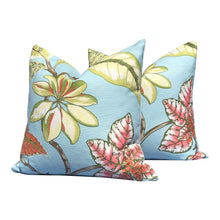 Load image into Gallery viewer, Thibaut Tropical Pillow in Aqua Blue, Pink, Green.