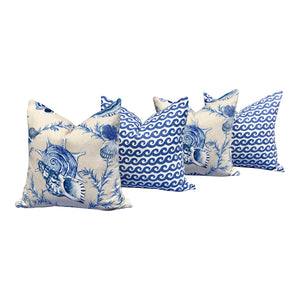 Thibaut Seashels Linen Pillow in Porcelain.