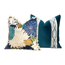 Load image into Gallery viewer, Asian Floral Pillow Cover  in Peacock with Cream  Pom Pom Trim.