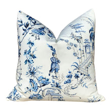Load image into Gallery viewer, Nanjing Scalamandre Pillow in Porcelain. Chinoserie Pillow in China Blue.