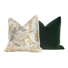 Load image into Gallery viewer, Jacobean Floral Pillow in Aqua Green, Cotton Rope Trim.
