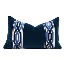 Load image into Gallery viewer, Velvet Pillow in Midnight with Woven Velvet Trim. Lumabr Velvet Pillow.