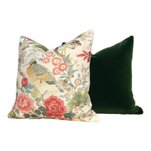 Load image into Gallery viewer, Chinoserie  Shenyang Linen Pillow in Bloom. Chinoserie Lumbar Pillow.