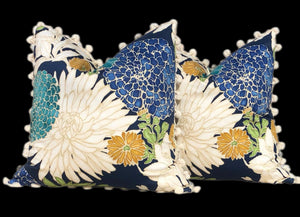 Asian Floral Pillow Cover  in Peacock with Cream  Pom Pom Trim.