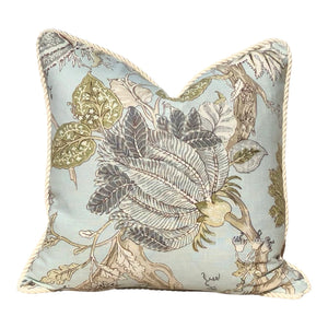 Jacobean Floral Pillow in Aqua Green, Cotton Rope Trim.