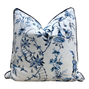 Nanjing Scalamandre Pillow in Porcelain. Chinoserie Pillow in China Blue.