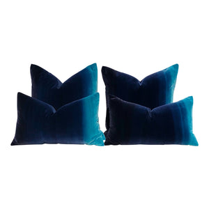 Harlequin Designer Ombre Velvet Pillow in Blueberry, Blue lagoon