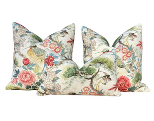 Chinoserie  Shenyang Linen Pillow in Bloom. Chinoserie Lumbar Pillow.