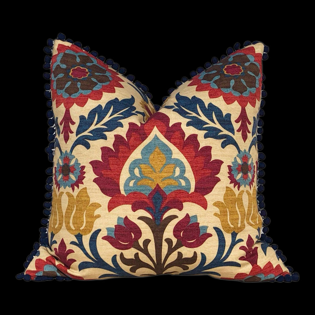 Santa Maria Outdoor Pillow Cover, Navy Blue Pom Pom. Lumbar Outdoor Pillow Cover.