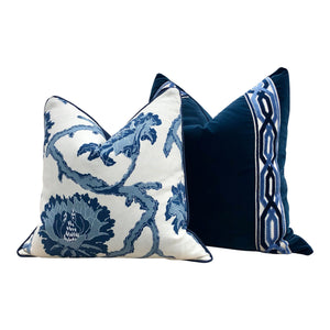 Velvet Pillow in Midnight with Woven Velvet Trim. Lumabr Velvet Pillow.
