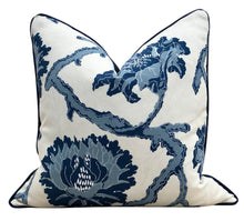 Load image into Gallery viewer, French General Linen Pillow in Indigo. Lumbar Linen Pillow Navy.