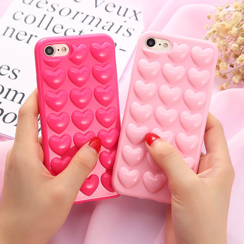 Korean Cute Candy Color 3D Love Heart Case - HypePercents