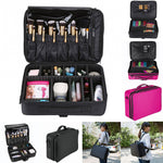 Professional Makeup Travel Case- 2 Layer Large Size with Adjustable Shoulder