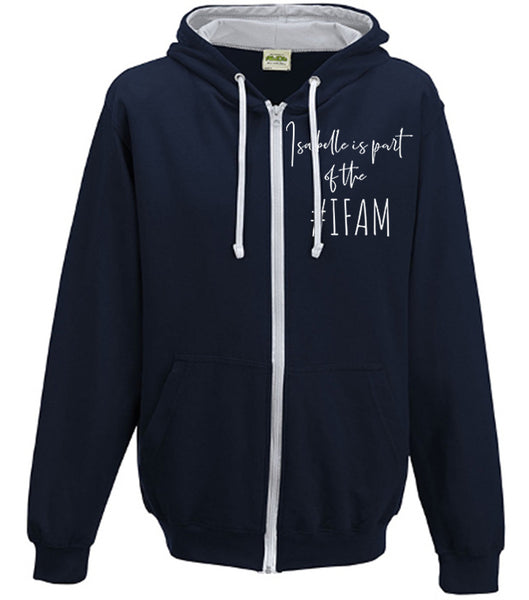 Personalised Adult Zip Up Varsity Hoodie