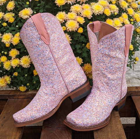 "**Kids** ""Rose"" Light Pink Mermaid Shimmer Boots"