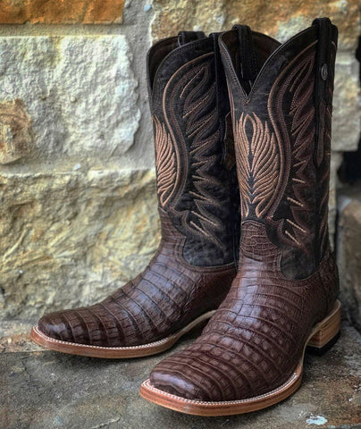 Mens Genuine Caiman Belly Boots