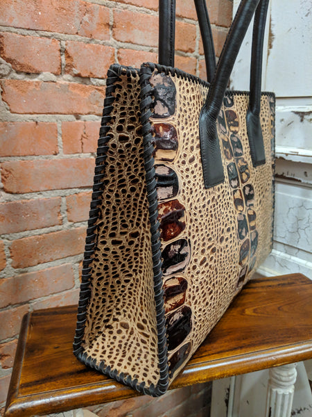 Juan Antonio Caramel Croc Handbag (4-6 week production time)