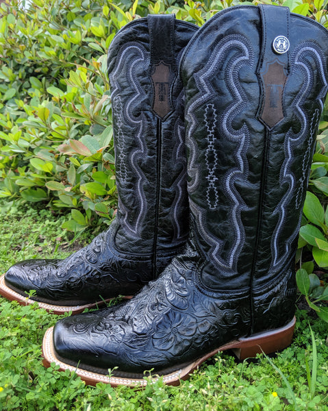 Ladies Black Tooled Print Boots