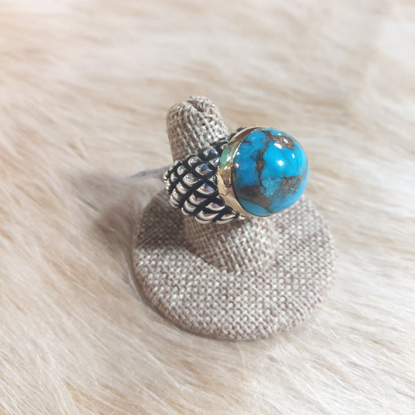Dian Malouf Dome Turquoise Abalone Ring