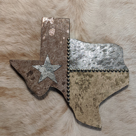 Metallic Cowhide Texas