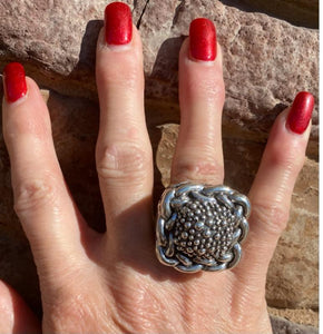 Dian Malouf Sterling Silver Caviar Ring