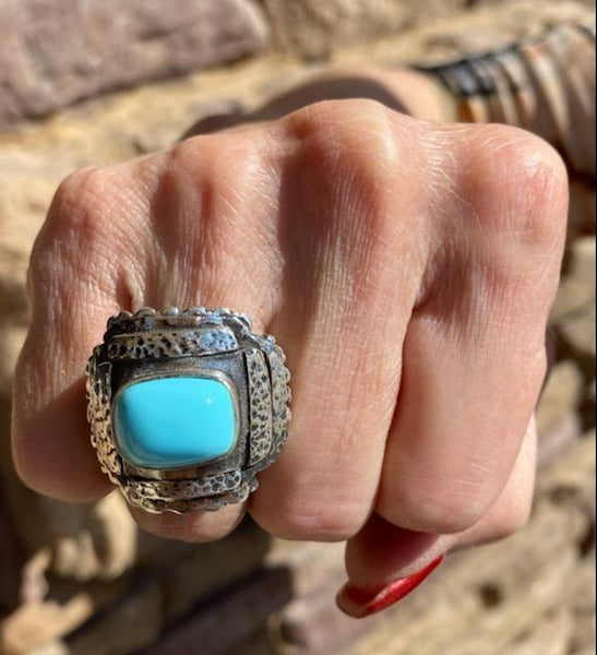 Dian Malouf Flat Cross with Turquoise Ring