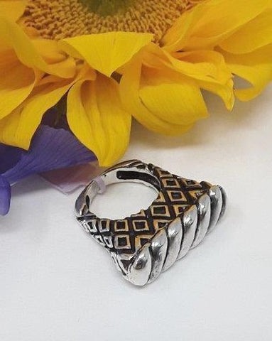 Dian Malouf Sterling Silver Slant Ring