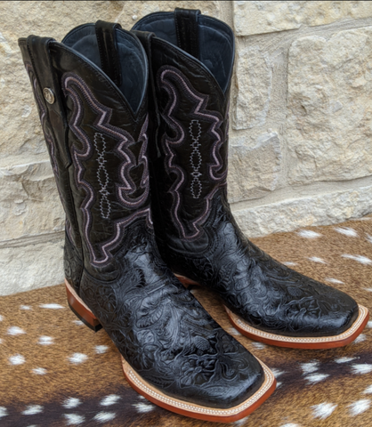 Tanner Mark Mens Black Tooled Boots