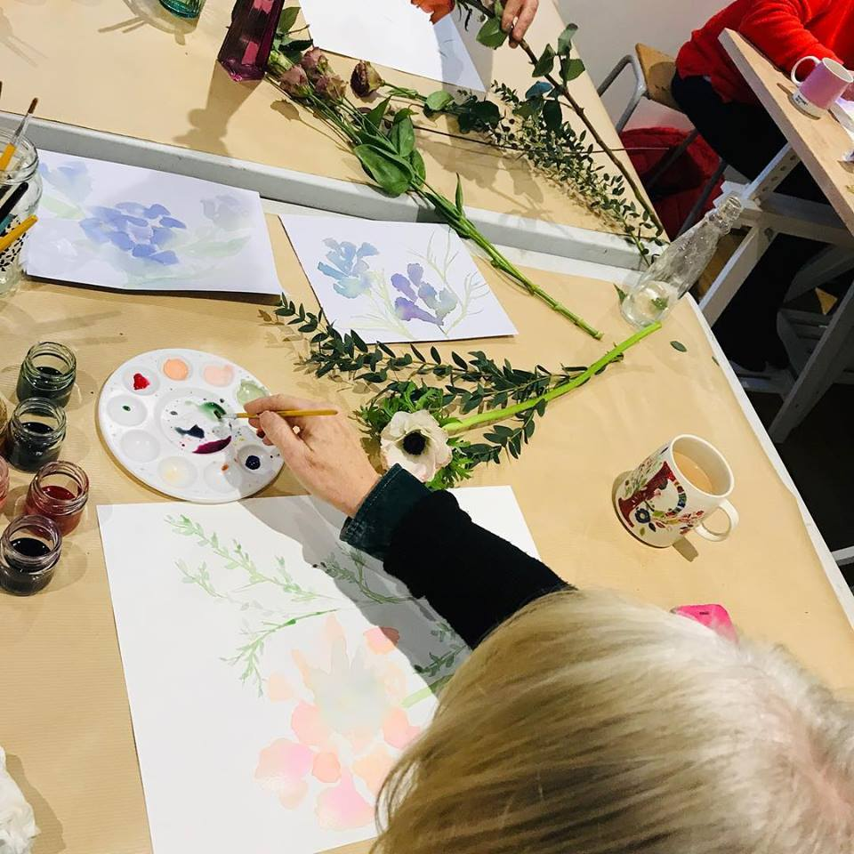 floral painting workshop at the flower folk, jesmond, Newcastle