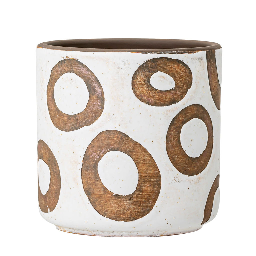 Terracotta White Pot with circles