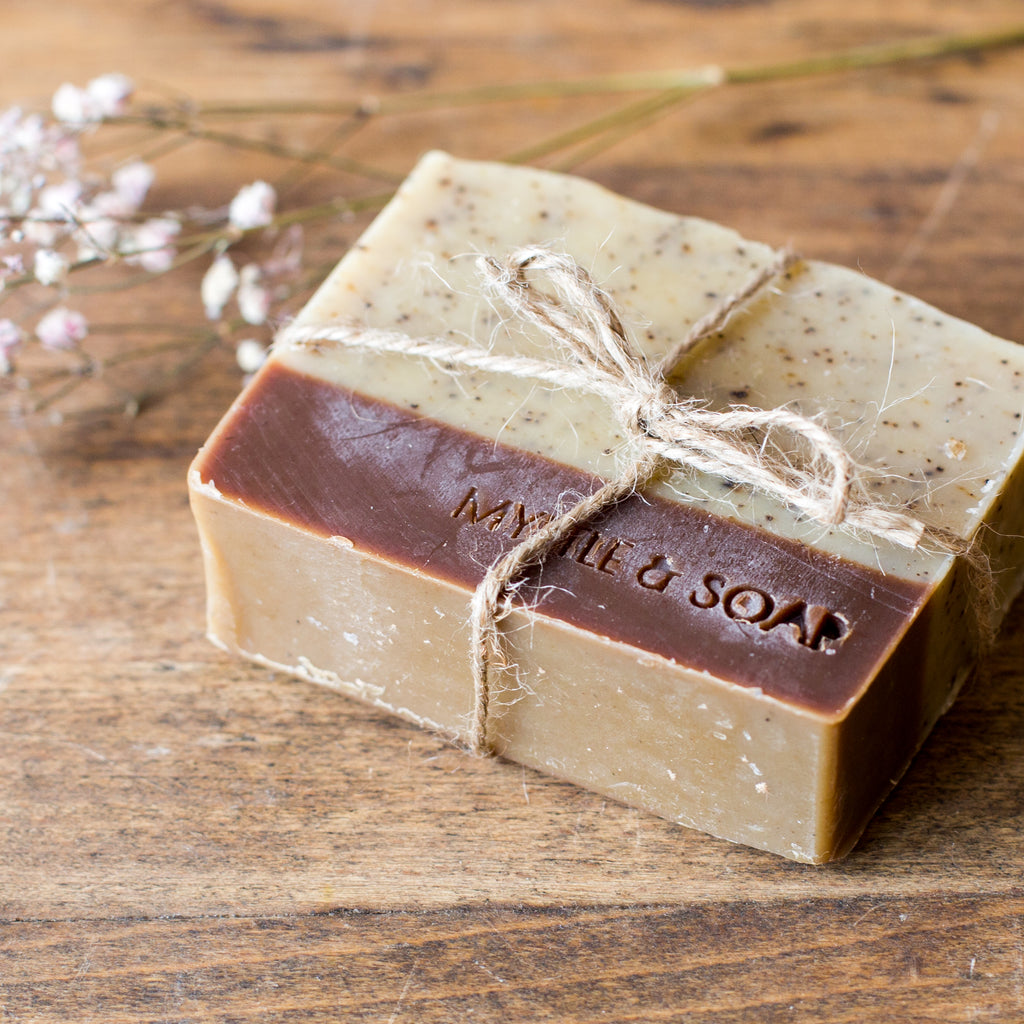 Natural soap MORNING COFFEE by Myrtle and Soap.