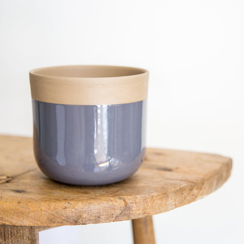 Terracotta plant pot - blue grey