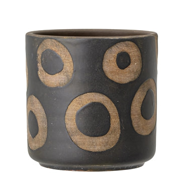 Terracotta Black Pot with circles