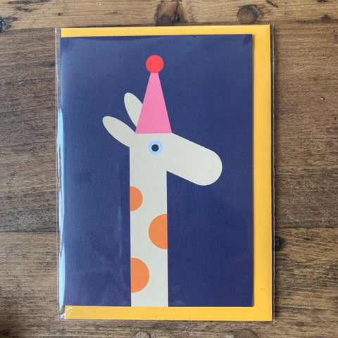 Giraffe with a party hat card