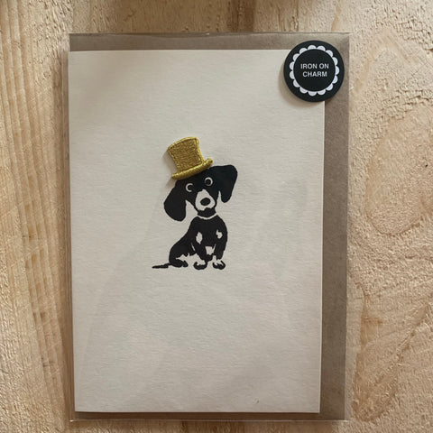 Daschund dog with iron on hat charm card