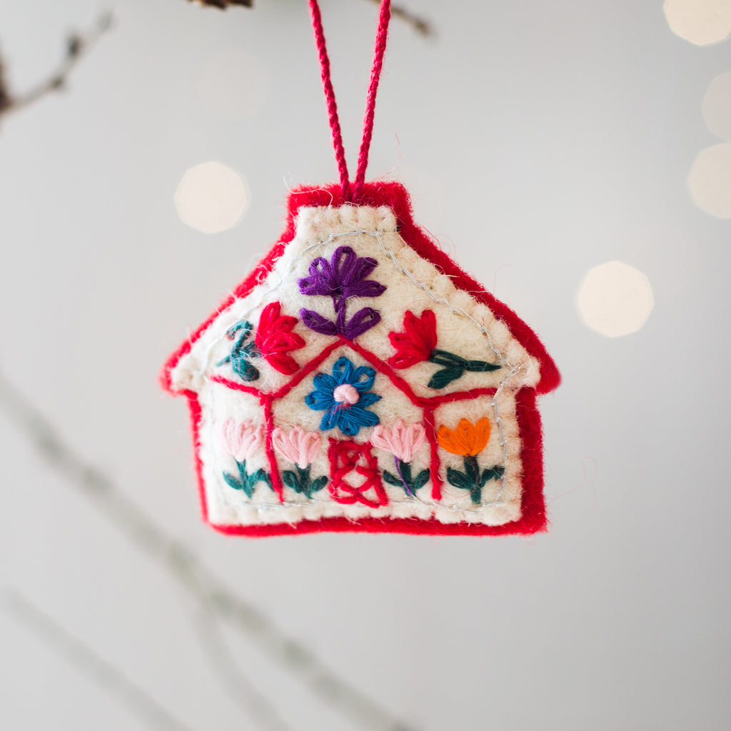 Woollen Christmas Tree House decorations