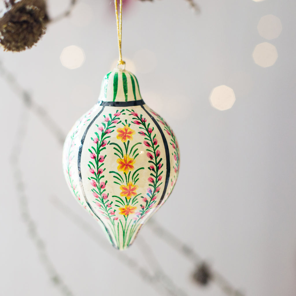 Hand painted Christmas Decoration - floral white