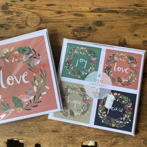 Peace and Love Christmas card pack of 4