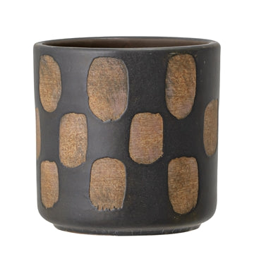 Bloomingville Terracotta Pot with stripes, Black