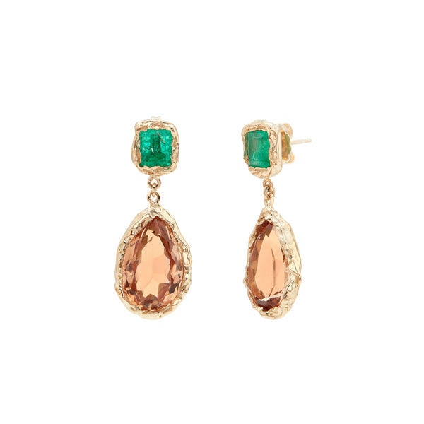 These one-of-a-kind earrings are made in 14 kt gold with beautiful precious stones. 2 x pear shaped Topaz and 2 x square Emeralds.  PRODUCT DETAILS:   Earrings in 14-karat gold with Topaz and Emeralds.  Handmade in Los Angeles Back closure SIZE & MEASUREMENTS:  Length: 30 mm Width: 13mm