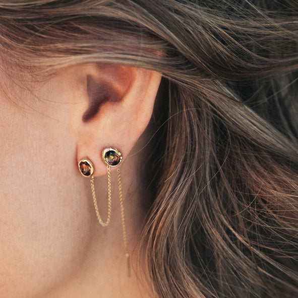 Freja Earring Dark Pink Long