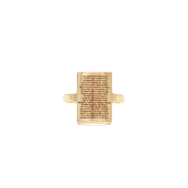 One of our most unique pieces, The Note Ring in 14-karat gold. The Ring is simple with a timeless aesthetic but carries special words & meaning to the owner that only he or she can read with a loop. PRODUCT DETAILS:   Ring in 14-karat solid gold with engraving.  Handmade in Los Angeles SIZE & MEASUREMENTS:   Note height: 8 mm Note width: 13 mm