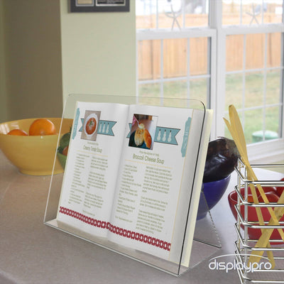 Clear acrylic cookbook / recipe book stand - Displaypro
