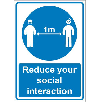 Coronavirus 1M Safety Signage Reduce Social Distances Sign - Displaypro