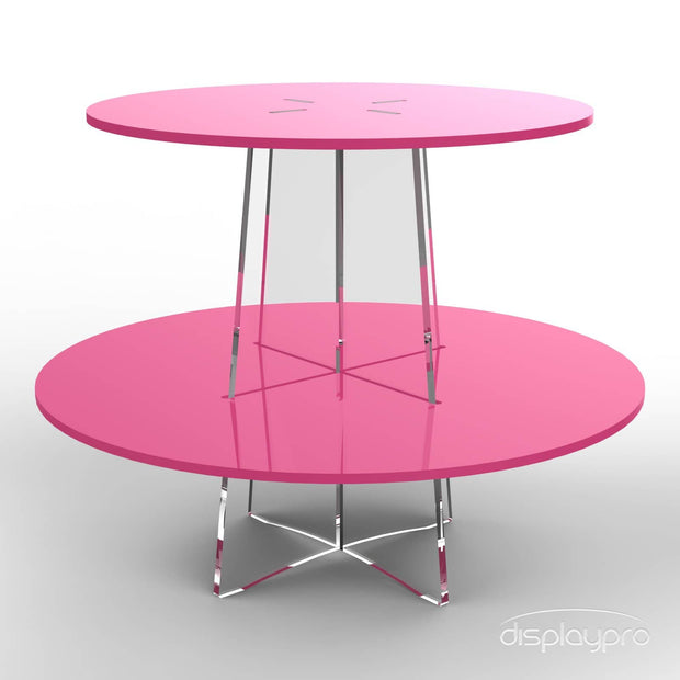 2 tier pink cup cake stand